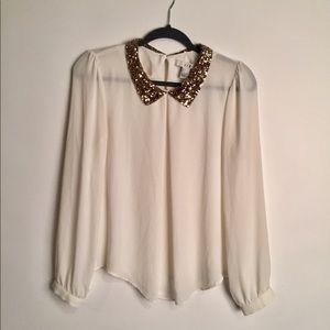 Sequin collar long sleeve blouse EUC L